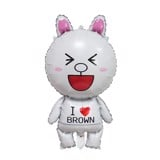 Cony rabbit i love brown foil balloon