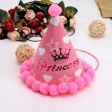 Nón sinh nhật chữ Happy Birthday Princess màu hồng - Princess Happy Birthday party hat
