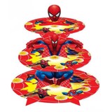 Khay bánh cupcake spiderman - 3-tiered cupcake spiderman