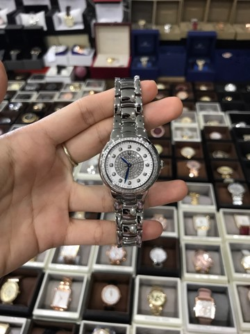 BULOVA White Diamond-set Dial Stainless Steel Ladies Watch  96R168