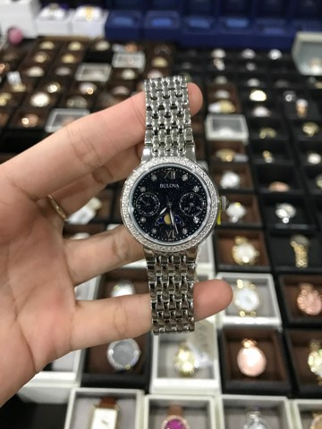 Bulova 96R210 Diamond Dial/Bezel Moon Phase Stainless Steel Ladies Watch