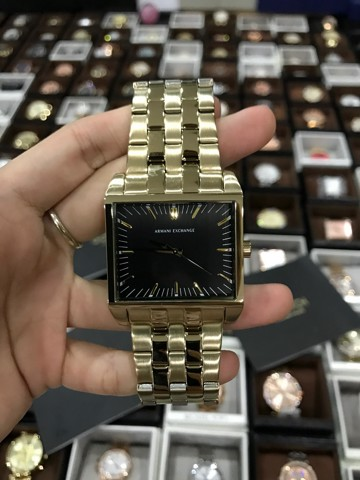 ARMANI EXCHANGE AX2215 Gold Ion Plated Black Dial Square 32x40MM