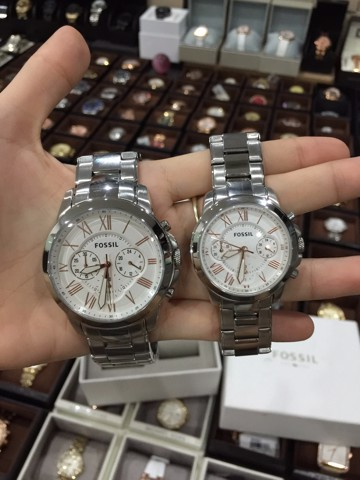 Fossil Grant Chronograph Couple's Watches White Dial BQ2180SET