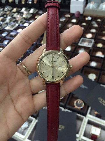 Burberry BU10102 Women's The Classic Round Swiss Red Leather Watch