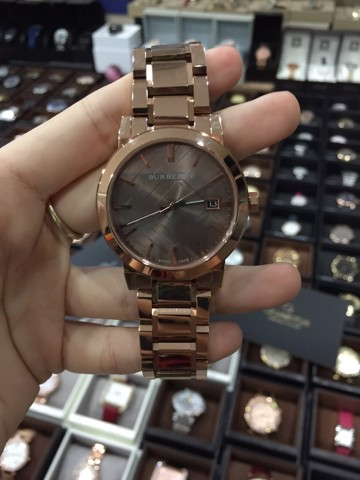 BURBERRY CITY BU9005 Large Check Rose Gold Tone Swiss Stainless Steel Bracelet Watch
