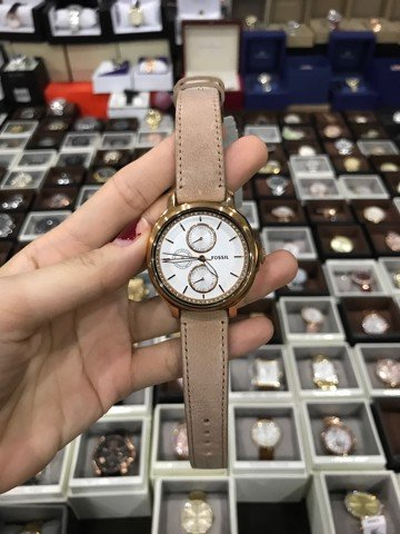FOSSIL Chelsey Multi-Function Silver Crystal-set Dial Beige Leather Ladies  ES3358