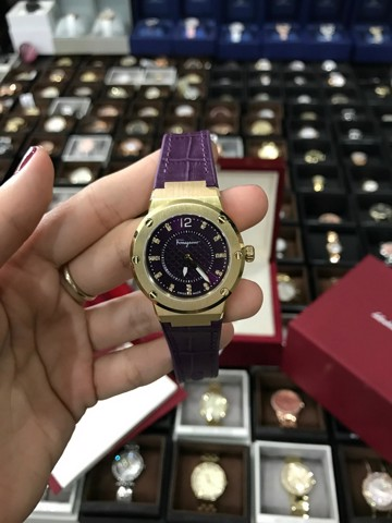 Ferragamo Women's FG160016 F-80 Gold IP Diamonds Luminous Purple Leather Watch