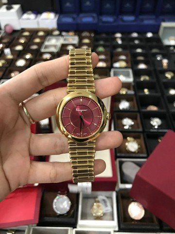 Ferragamo FIN060015 Women's Watch Gold Tone with Red Dial Color