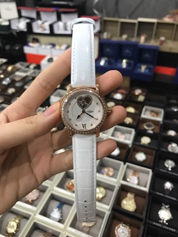 Rotary Ladies Rose Gold White Leather Strap Watch Ls00103/06