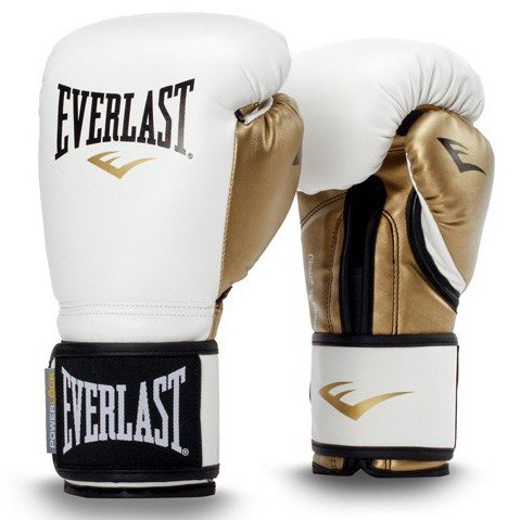 GĂNG TAY BOXING POWERLOCK HOOK & LOOP SYNTHETIC LEATHER TRAINING GLOVES - WHITE/GOLD