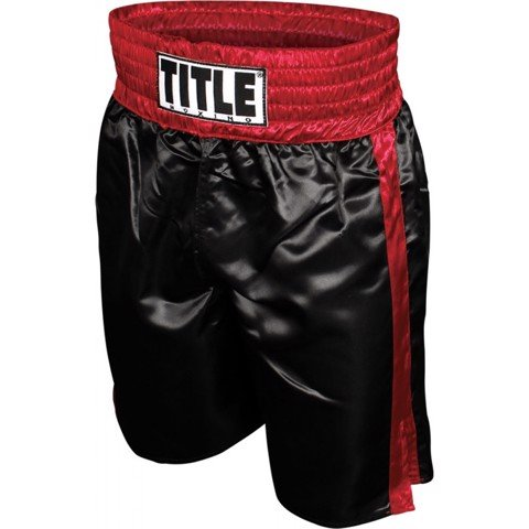 QUẦN TITLE PROFESSIONAL SATIN BOXING TRUNKS - BLACK/RED