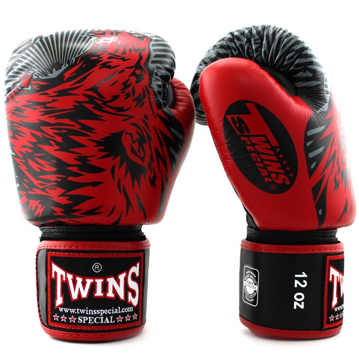GĂNG TAY TWINS FBGV-50 VELCRO GLOVES (THAILAND LEATHER 100%) - RED/BLACK