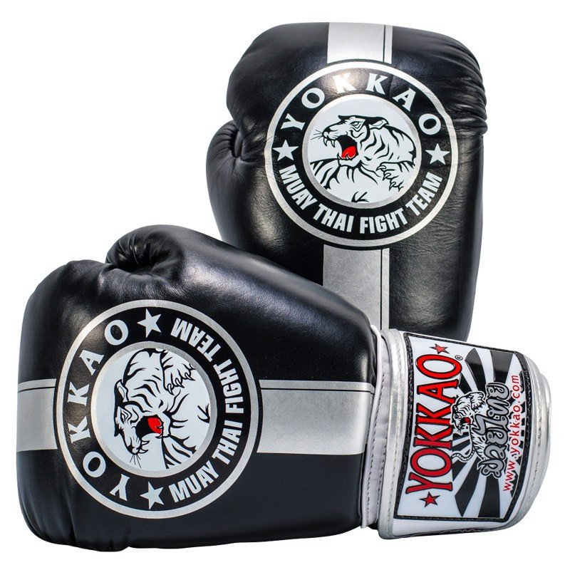 GĂNG TAY YOKKAO OFFICIAL FIGHT TEAM SILVER/BLACK MUAY THAI & BOXING GLOVES