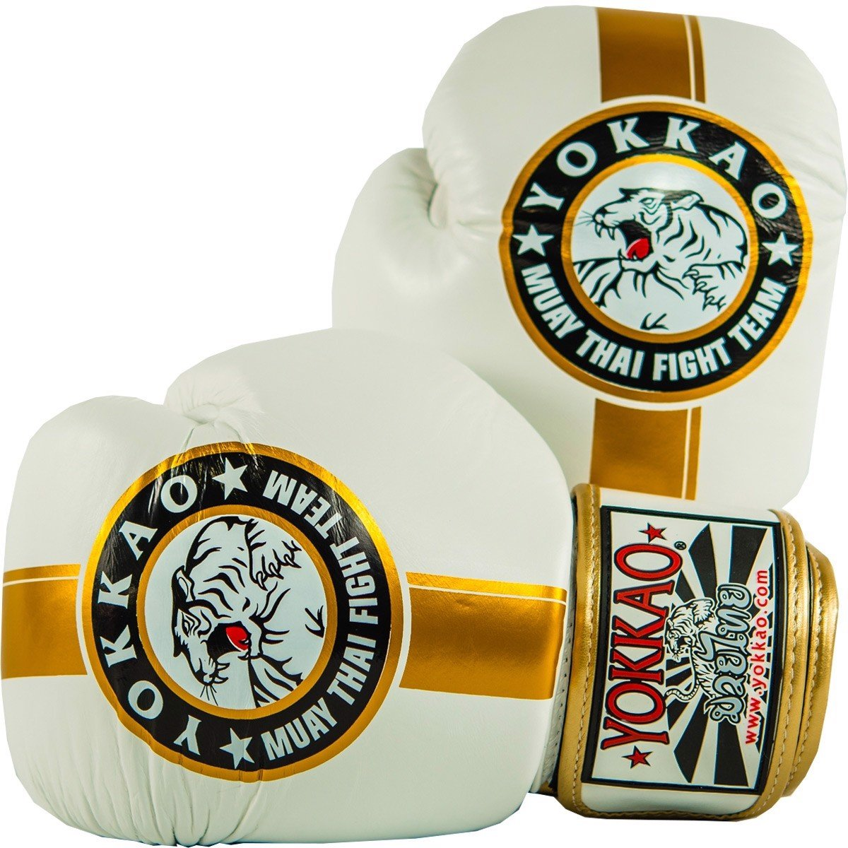 GĂNG TAY YOKKAO OFFICIAL FIGHT TEAM GOLD/WHITE MUAY THAI & BOXING GLOVES