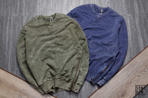 Sweater Wash Phối Zip Hông