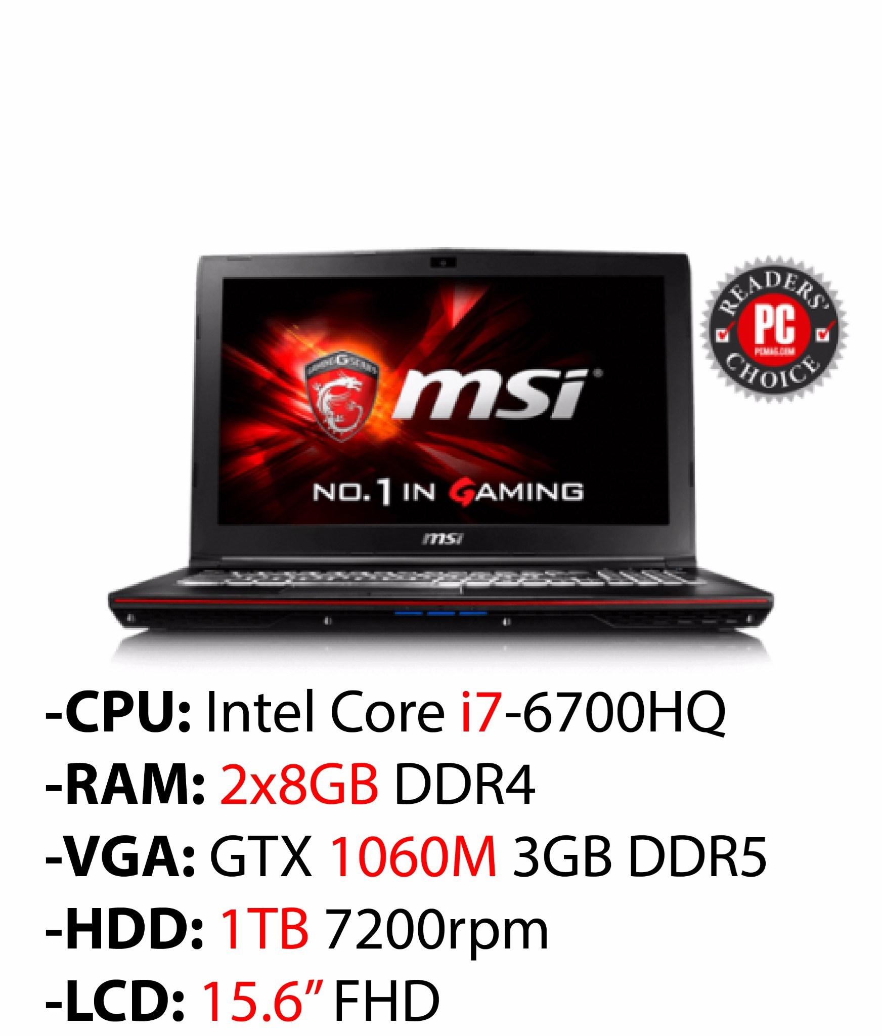 MSI GP62MVR 6RF 266XVN