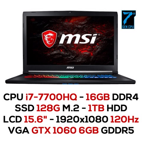 Laptop Gaming MSI GP62MVR 7RFX - 893XVN