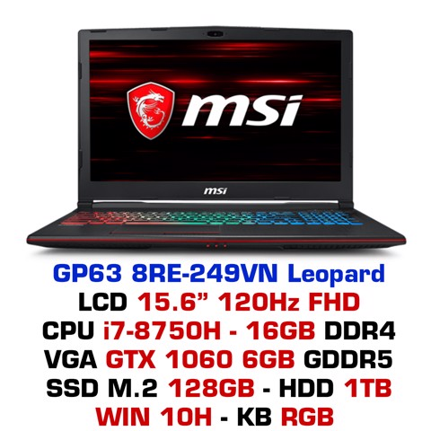 Laptop Gaming MSI GP63 8RE-249VN Leopard