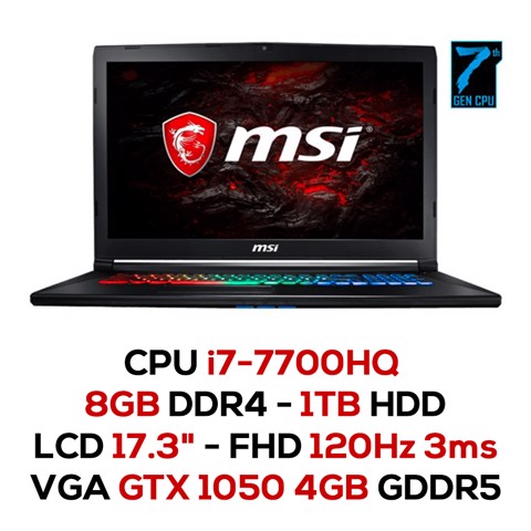 Laptop Gaming MSI GP72M 7REX-1216XVN