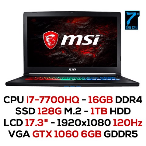 Laptop Gaming MSI GP72MVR 7RFX - 697XVN