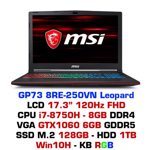 Laptop Gaming MSI GP73 8RE-250VN Leopard