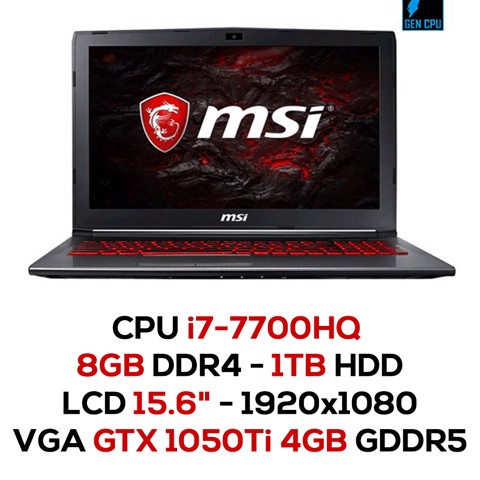 Laptop Gaming MSI GV62 7RE-2443XVN