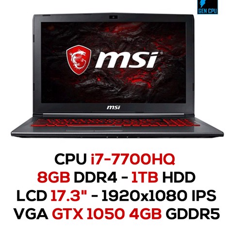 Laptop Gaming MSI GV72 7RD-874XVN