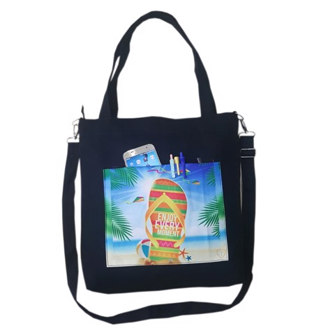 Túi tote canvas TROY phối họa tiết Summer Enjoy every moment