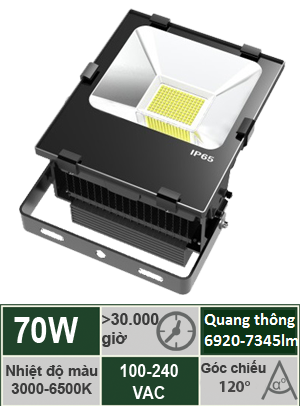 Đèn Led Pha 70W Vinaled FL-BB70