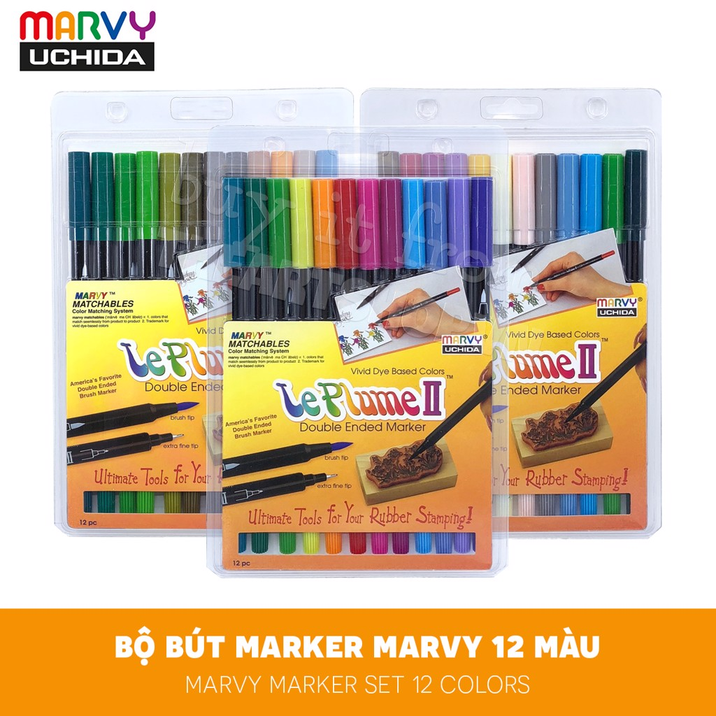 Bộ bút marker màu nước MARVY Set 12 màu - MARVY Le Plume II Double-Sided Watercolor Marker Set 12 Colors