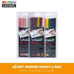 Bộ bút marker màu nước MARVY Set 6 màu - MARVY Le Plume II Double-Sided Watercolor Marker Set 6 Colors