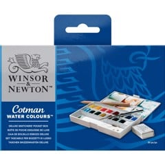 Bộ màu nước WINSOR 16 màu - WINSOR & NEWTON COTMAN Watercolor Deluxe Sketchers' Pocket Box Set (16 Half Pans)