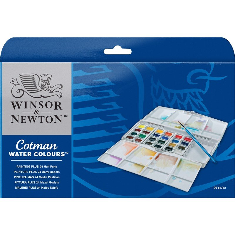 Bộ màu nước WINSOR 24 màu - WINSOR & NEWTON COTMAN Watercolor Painting Plus Set 24