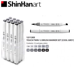 Bộ bút marker SHINHANART - SHINHANART Touch Twin Brush Marker Set 12 (COOL GREY)