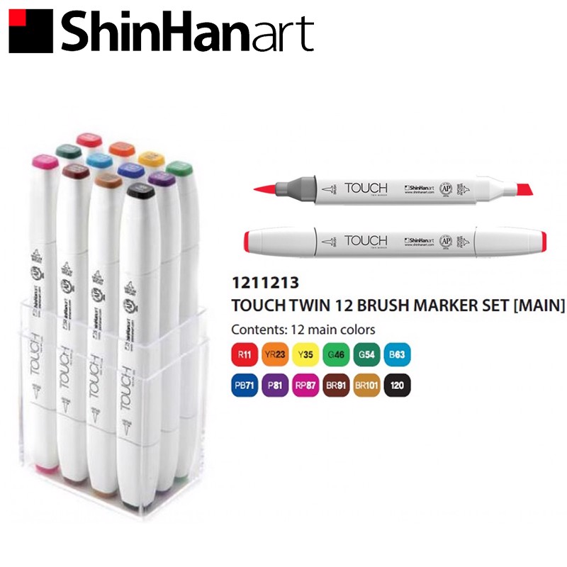 Bộ bút marker SHINHANART - SHINHANART Touch Twin Brush Marker Set 12 (MAIN COLOR)