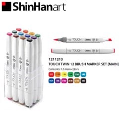 Bút marker TOUCH TWIN BRUSH MARKER set 12 MAIN COLOR