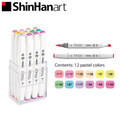 Bộ bút marker SHINHANART - SHINHANART Touch Twin Brush Marker Set 12 (PASTEL COLOR)