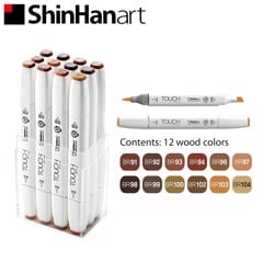 Bộ bút marker SHINHANART - SHINHANART Touch Twin Brush Marker Set 12 (WOOD TONES)