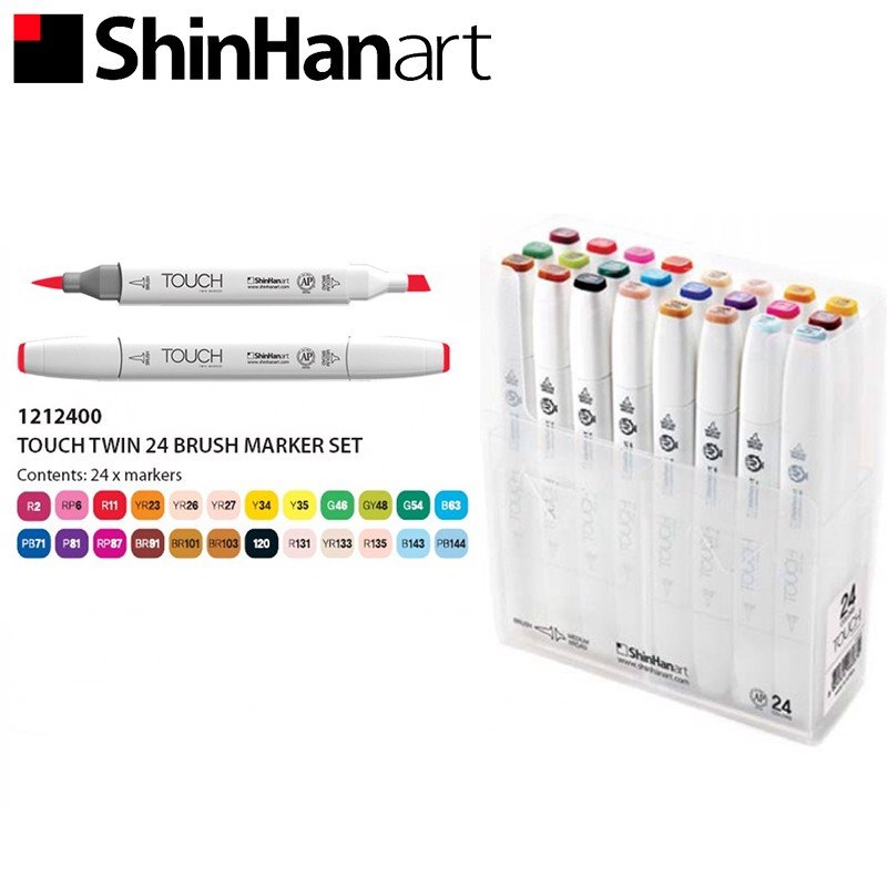 Bộ bút marker SHINHANART - SHINHANART Touch Twin Brush Marker Set 24