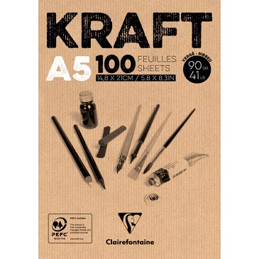 Sổ giấy kraft CLAIREFONTAINE - CLAIREFONTAINE Glued Pad Brown Kraft