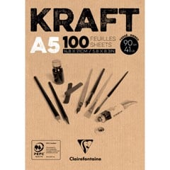 Tập giấy kraft CLAIREFONTAINE - CLAIREFONTAINE Glued Pad Brown Kraft