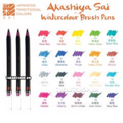 Akashiya Sai Watercolor Brush Pen - 20 Colors (Bán lẻ - Retail)