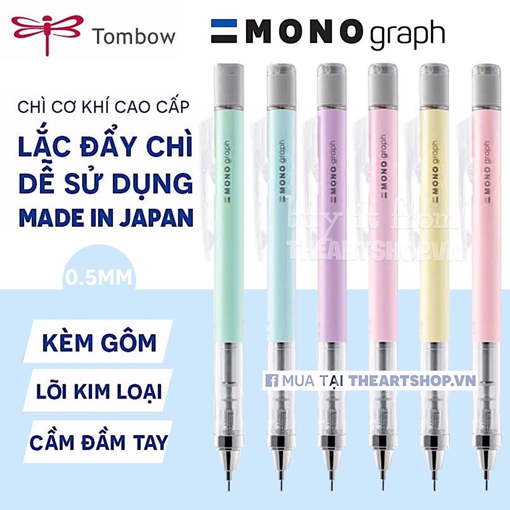 Chì cơ khí lắc đẩy ngòi TOMBOW - TOMBOW Mono *PASTEL COLOR* Graph Shaker Mechanical Pencil 0.5mm