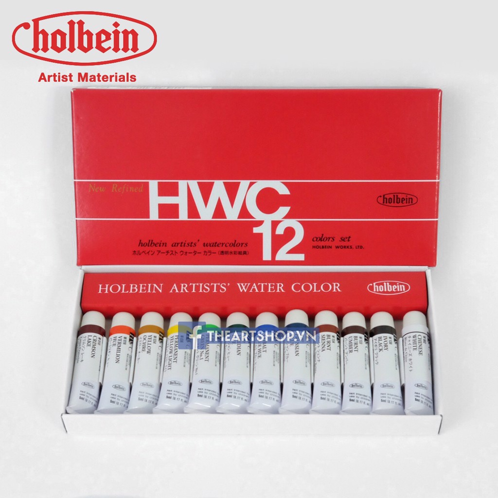 Màu nước HOLBEIN Artists Bộ 12 màu-Tuýp 5ml - HOLBEIN Artists Watercolor Set 12 colors-Tube 5ml