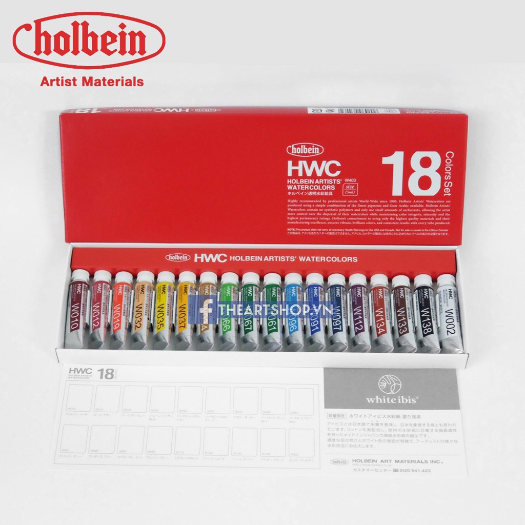 Màu nước HOLBEIN Artists Bộ 18 màu-Tuýp 5ml - HOLBEIN Artists Watercolor Set 18 colors-Tube 5ml
