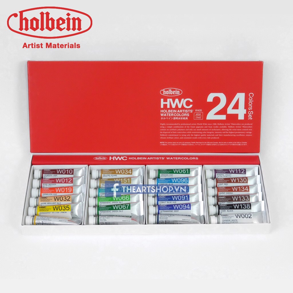 Màu nước HOLBEIN Artists Bộ 24 màu-Tuýp 5ml - HOLBEIN Artists Watercolor Set 24 colors-Tube 5ml