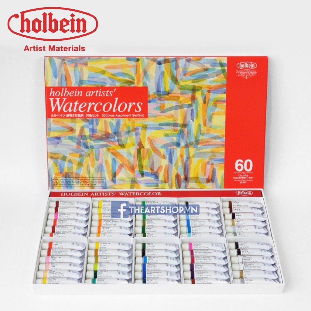 Màu nước HOLBEIN Artists Bộ 60 màu-Tuýp 5ml - HOLBEIN Artists Watercolor Set 60 colors-Tube 5ml