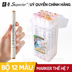 Bộ bút 12 cây marker SUPERIOR Touch Soft Head - SUPERIOR Touch Softhead Marker Set 12
