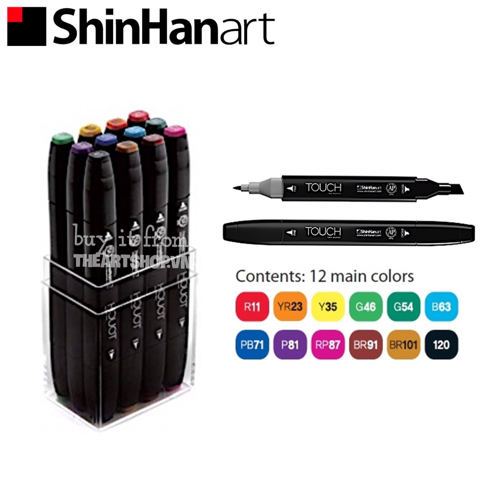 Bộ bút marker SHINHANART - SHINHANART Touch Twin Marker Set 12 (MAIN COLORS)