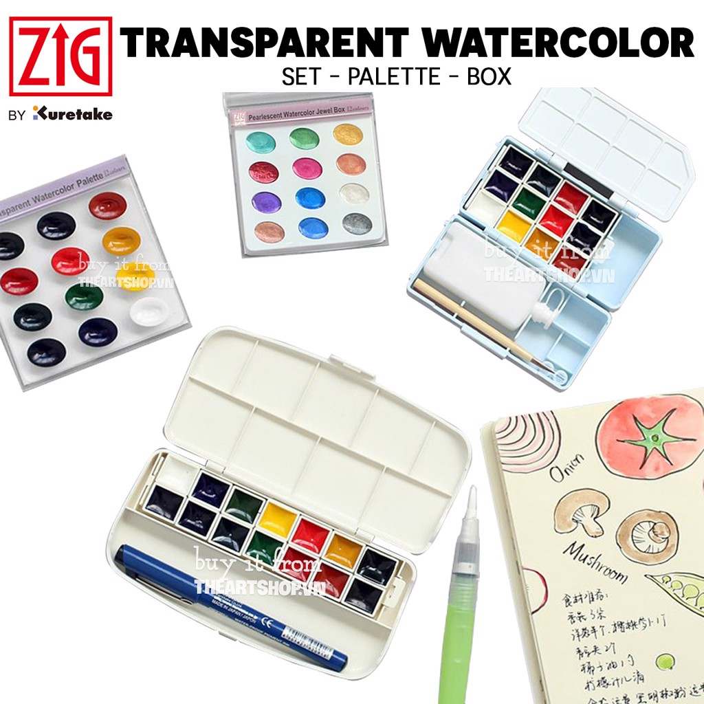 Màu nước KURETAKE - KURETAKE Transparent Watercolor Set 12/14